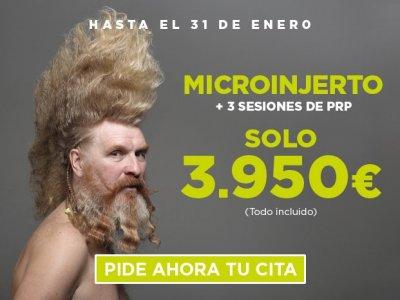 **REBAJAS EN CAPILÁREA** ¡Recupera tu pelo y atrévete con todo! Microinjerto + 3 sesiones de PRP  ¡¡SOLO 3.950 € !! (todo incluIdo)
