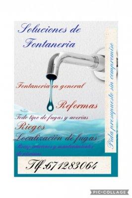 realizamos todo tipo de trabajos de fontaneria,mantenemos su piscina,riego,sanitarios,griferias,y un largo etc visitenois en<div>www.solucionesfontaneria.com</div>