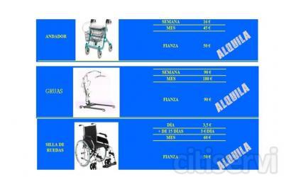 Alquiler de ayudas técnicas Ahora, ya no es preciso adquirir en propiedad las ayudas técnicas que pueda necesitar temporalmente o de forma continuada como: - Sillas de ruedas - Scooters - Muletas - Andadores - Camas articuladas - Gruas - Etc