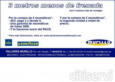 Por la compra de 4 neumáticos*: - 4X3: paga 3 y llévate 4. - Una garantía de neumáticos   de hasta 300€. - Y te hacemos socio del RACE.  * Para más información, entra en: www.3metrosmenosdefrenada.com