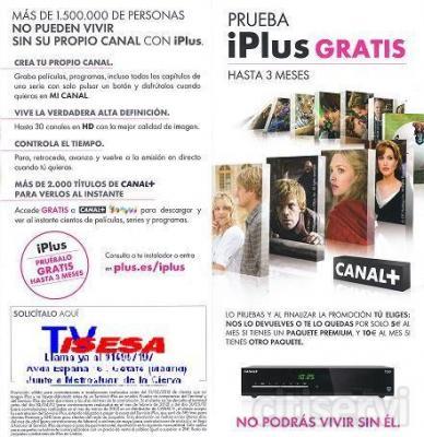 DISFRUTA YA DE TODA LA PROGRAMACION HD DE CANAL + GRATIS DURANTE 3 MESES Y SI NO TE GUSTA NOS LO DEVUELVES.