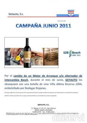 Por el cambio de un motor de arranque y/o alternador de intercambio Bosch, durante el mes de Junio, Getauto les obsequiará con un botella de vino viña Albina reserva 2004, embotellado por Bodegas Riojanas.