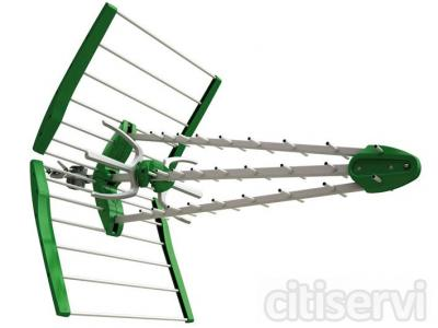 Cambio de antena individual por una de alta ganacia HD TDT, anclajes, mastil 2x1,5mts y  cableado 25mts.