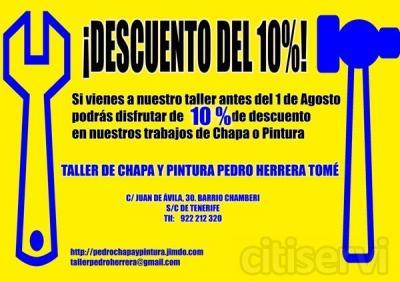 Si vienes antes del 1 de Agosto podrás disfrutar de un descuento del 10% en los trabajos de Chapa o Pintura en nuestro Taller Pedro Herrera