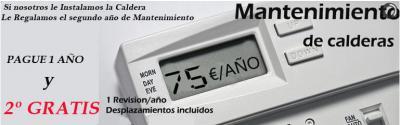 No si sabréis que el Mantenimiento de su caldera es obligatorio anual segun IT3 del RITE (REAL DECRETO 1027/2007 de julio)  Nosotros desde Caldera y Confort ofrecemos un MANTENIMIENTO DE 75 € MAS IVA y ademas si instalamos nosotros la Caldera el Primer