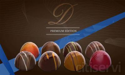 Els bombons Premium contenen maltitol, el millor succedani del sucre a la xocolata: redueix fins al 25% les calories daquests bombons. Els temin en vuit varietatas: quatre de xocolate negre(noistte, Peccan fleur de sal, citron vert, frambo