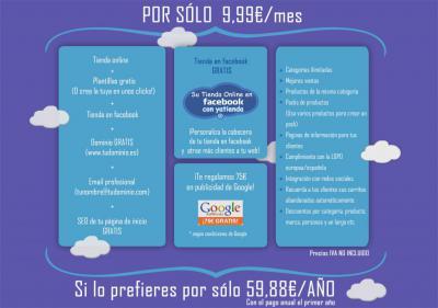 Crear tienda online por 59,88€/año(iva no incluido) o por 9,99€/mes.  Más información en imagen adjunta y en nuestra web: http://www.yatienda.com.