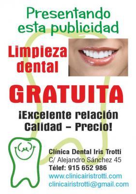 Dentista en Madrid Dra. Iris Trotti Cabrera (Odontóloga) Ofrece una limpieza dental gratuita y un presupuesto gratuito a todas las personas que se acerquen a conocer la clínica Dental de Alejandro Sánchez 45 Madrid 915652986 clinicairistrotti@gmail.com