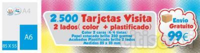 2.500 Unidades Tarjetas de Vista medidas: 85 x 55 mm color: dos lados 4/4 Plastificados: dos lados brillante o mate papel: estucado brillo 350 gr  Precio: 99 €  Envio Gratuito