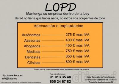 Ofrecemos servicio de adecuación LOPD y asesoramiento legal en la materia. Confíe en profesionales.