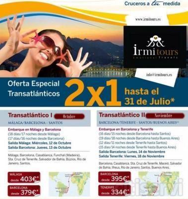 Oferta para las salidas de octubre y noviembre. Salidas desde Malaga, Barcelona y tenerife. Ver oferta e itinerarios en imagenes