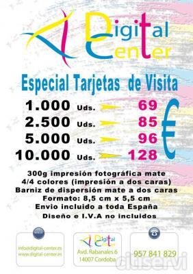 1000 ud: 69€  2500 ud.85€  5000 ud 96€  Todo color 4+4  Tamaño 8.5x5.5  Envío incluido España  IVA y diseño no incluído