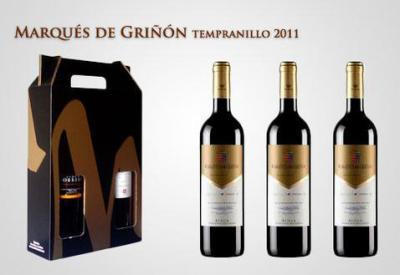 Estuche especial de carton acompañado de 3 excelentes  botellas de vino Marques de Griñon de la DO de Rioja, coleccion privada numerada. Por tan solo 36.95 euros, pago contrareembolso por seur