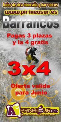 Durante el mes de junio pirineosur te ofrece la posibilidad a 4 personas de disfrutarde un descenso de barranco por el precio de 3